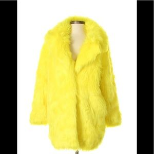 Like New Missguided Yellow Faux Fur Furry Jacket